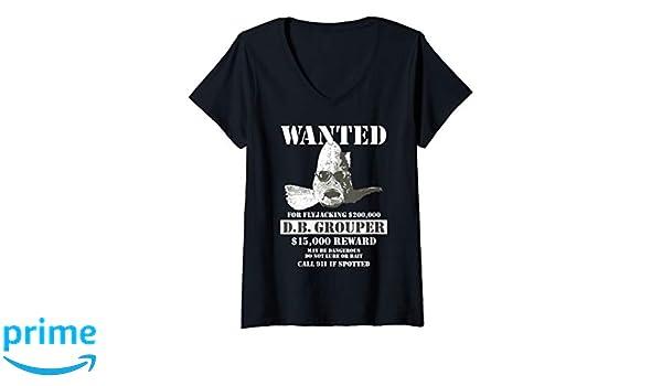 b22b79c402f27 Amazon.com: Womens Wanted Poster Funny T Shirt D.B. Grouper ...
