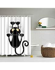 Douchegordijnen, douchegordijn van polyester, textiel badgordijn, zwarte kat bedrukt, anti-schimmel, waterdicht, badkamergordijn met 12 douchegordijnen en haken,120x180 cm