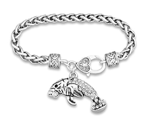 Beautiful Endangered Manatee Sea Cow Charm Bracelet is Embellished in Crystal Clear Rhinestones.Heart Lobster Claw Closure.Gift Boxed
