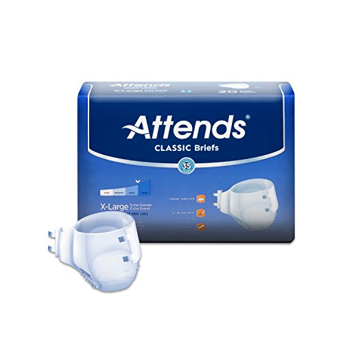 Attends Classic Briefs with Dry-Lock Technology for Adult Incontinence Care, X-Large, Unisex ,  20 Count (Pack of (Attends Pull)