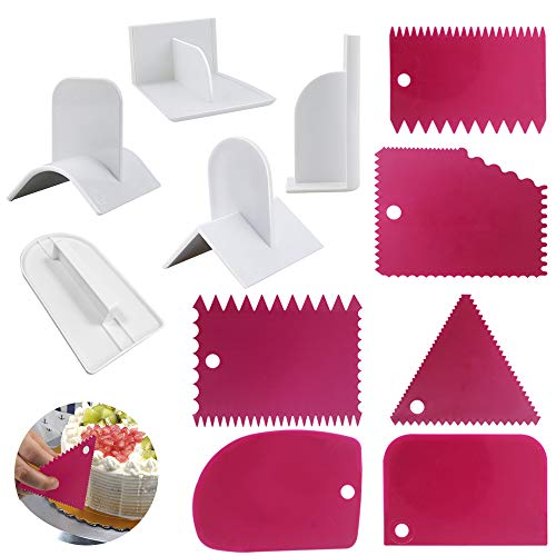 SourceTon Cake Scraper Smoother and Fondant Kits, Fabulous 6 Pcs Cake Decorative Scrapers Polisher and 5 Pcs of Fondant Smoother Tools by SourceTon
