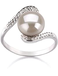 PearlsOnly - Chantel White 9-10mm Freshwater 925 Sterling Silver Cultured Pearl Ring