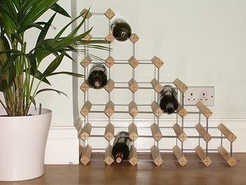 27 Bottle Wood And Metal Understairs Wine Rack