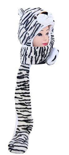 White Tiger Costume Head (Funnie Varied Animal Hats Gloves Scarf 3 In 1 Set -Costume Hood Toy(White Tiger))