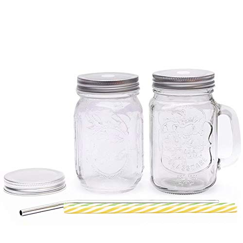 Two Wide Mouth Mason Jars Mugs,One with Handle,the Other without,Include Two Plastic Straws(Color Random ),One Stainless-steel Straws and One Sealed Lid,Each 16-ounce,Fashion Drinking Glasses]()