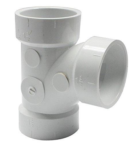 (Canplas 192151L PVC DWV Sanitary Tee, 1-1/2-Inch, White)