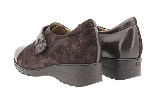 Calzado mujer confort de piel Piesanto 9952 zapato velcro casual cómodo ancho Caoba