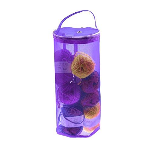 Price comparison product image Iuhan Mesh Bag Lightweight New Portable Yarn Crochet Thread Storage Organizer Tote (Purple)