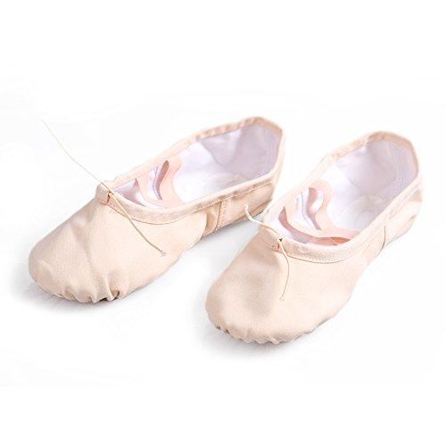 Gymnastik Yoga Canvas Läder Balett Dans Skor Barn Och Vuxna Storlekar Ljusrosa