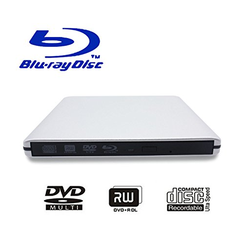 USB 3.0 External Blu-Ray DVD/BD/CD Drive, Portable Ultra-Thin 3D Blu-ray Player/Writer/ Burner Used for The MacBook Pro Air, Apple Mac and So On Various Brand Computer Desktop, Laptop (Silver) (Regular Cd Player)