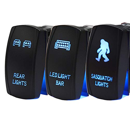 Dasen Rocker Switch 3PCS Laser SASQUATCH & Rear & LED Lights Toggle Switch blue Fit ATV UTV Polaris RZR Can-am HONDA YAMAHA Can-AM Maverick JEEP SUV