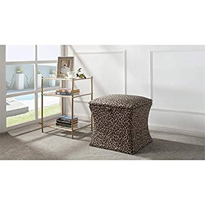 Brika Home Concaved Storage Ottoman in Leopard