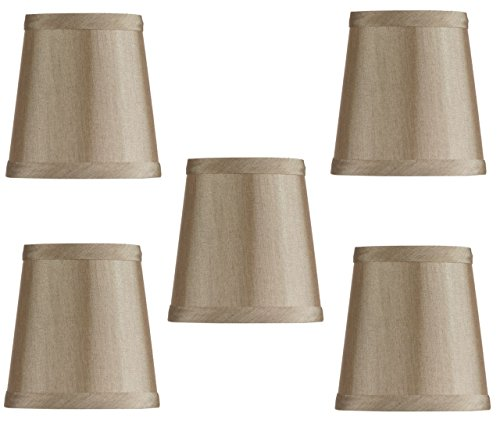 Mini Chandelier Shades Clip On Small Lamp shades set of Five Rich antique gold bronze