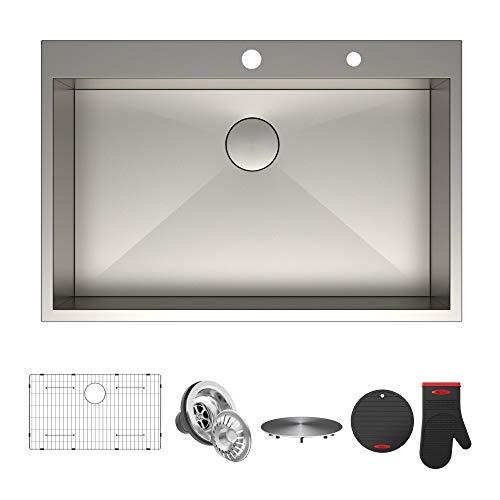 "Kraus KP1TS33S-2 Pax Kitchen Sink Single Bowl, 33 Inch, 33"" x 22"" x 9"" 2 Hole"