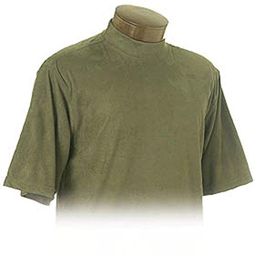 Short Mock Sleeve Turtleneck Golf (Monterey Club Mens Brushed Vegan Suede Short Sleeve Mock Neck Shirt #1180 (Olive, Medium))