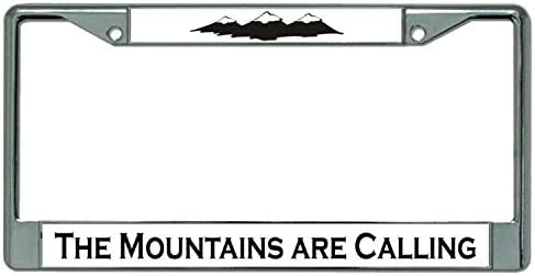 Butler Online Stores The Mountains are Calling License Plate Frame Bundle with Mountain Decal Log Off