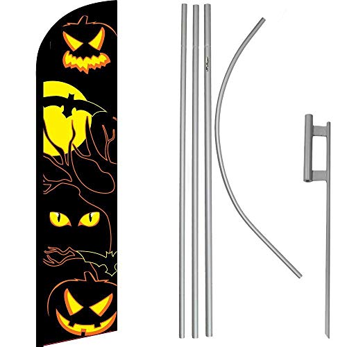 ALBATROS Halloween Eyes Black/Yellow Windless Banner Flag with 16in Flagpole Kit/Ground for Home and Parades, Official Party, All Weather Indoors Outdoors]()