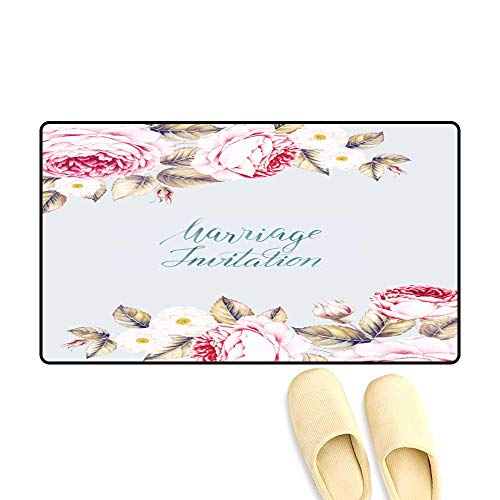 Bath Mats for Floors Watercolor Rose of Invitation