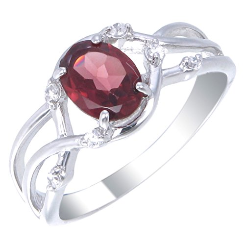 Sterling Silver Garnet Ring 1.10 CT Size 6