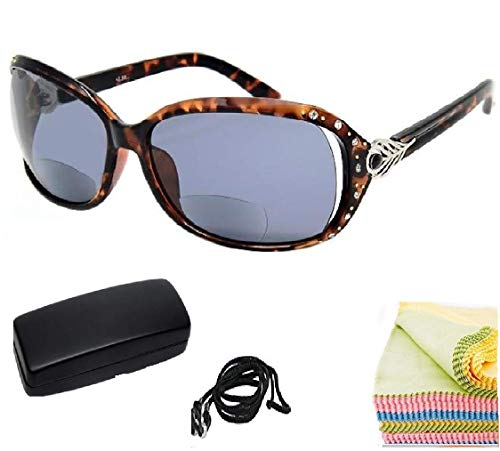 Bifocal Sunglasses for Women - The Cassia Diamond Bifocal Reading Sunglasses Jackie Stylish Women's Full Frame (Tortoise, 2.5)