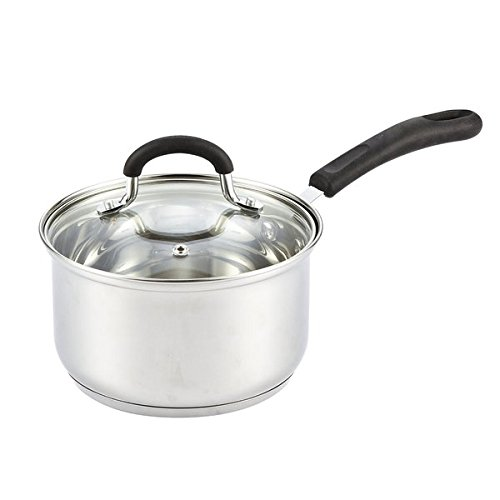 Silver Stainless Steel Cookware 2-quart Medium Sauce Pan with Lid