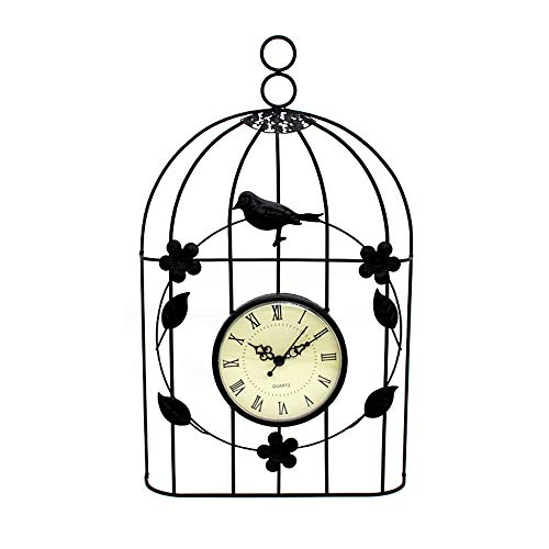 YUSDP Wall Clock Silent Accurate Sweep Movement Creative Wrought Iron Bird Cage Living Room Wall Decoration Decorative for Kitchen Room Bedroom Office Black