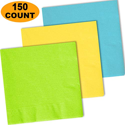 150 Lunch Napkins, Lime Green, Lemon Yellow, Island Blue - 50 Each Color. 2 Ply Paper Dinner Napkins. 6.5