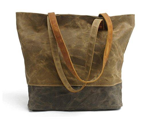 Women's Concise Style Waterproof Canvas Tote Shoulder Bag Environmental protection shopping bag(Khaki)