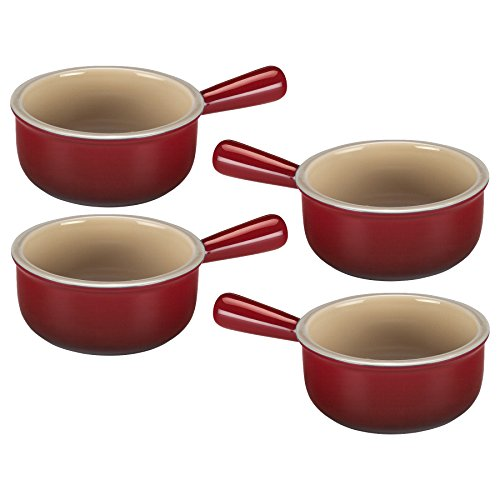 (Le Creuset Cherry Stoneware French Onion Soup Bowl, Set of 4 )