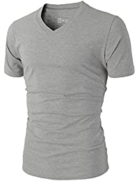 H2H Mens Casual Slim Fit Short Sleeve V-neck T-Shirt Of Various Colors