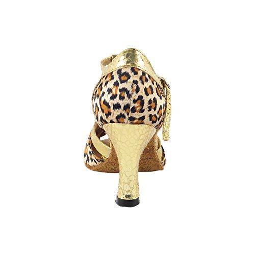 """Sehr feine Tanzschuhe 2707 (Competition Grade) 3 """"Heel Leopard und Gold"""