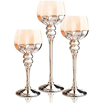 long stem glass candle holders set of 3 brown gold hexagon hurricanes for tealight. Black Bedroom Furniture Sets. Home Design Ideas