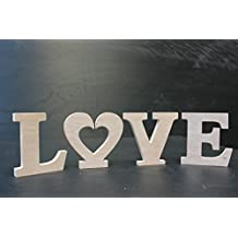 """Wooden Plaque Words/Letters Free Standing """"LOVE"""" Home/Wedding Decoration (wood color) by Kaishihui"""