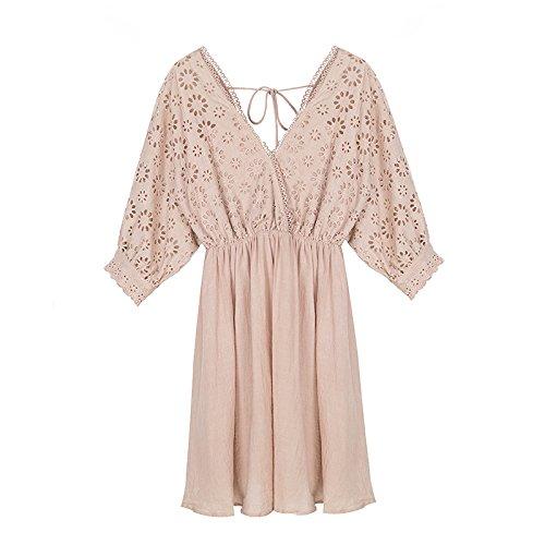 V Taille WLG Jupe Fminine de Cou Temprament Haute Rose Robe d't Mode de UYHUxrq