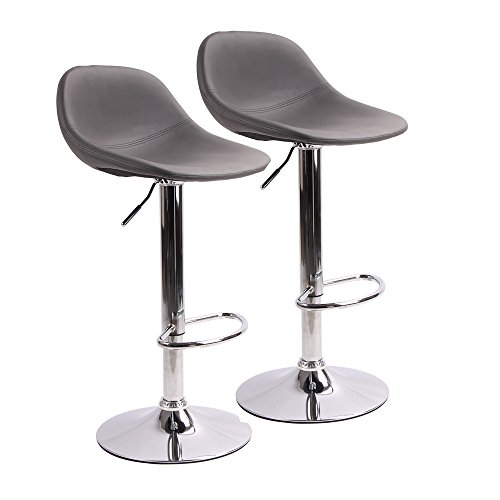 rstools with Back for Home Bar Kitchen Counter, New Modern Grey PU Leather Hydraulic Bar Chair-Set of 2 (Bar Stool 24' Base)