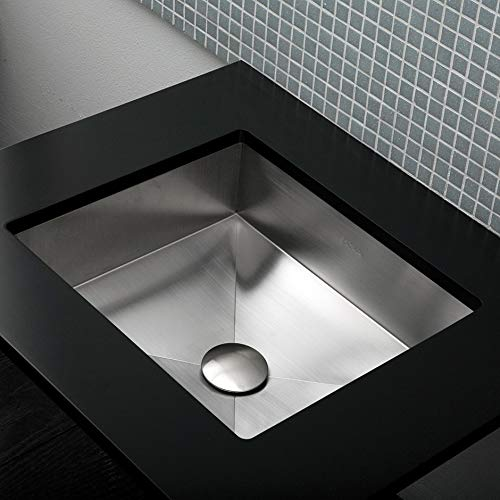 Under-counter or self-rimming lavatory without an overflow. 16 gauge stainless steel. W: 17