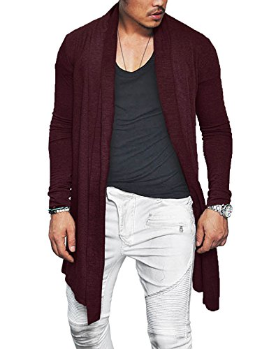 Blend Long Cardigan - COOFANDY Men's Christmas Shawl Collar Cardigan Cotton Blend Long Length Drape Cape Xmas Sweater Overcoat, Wine Red ,Small