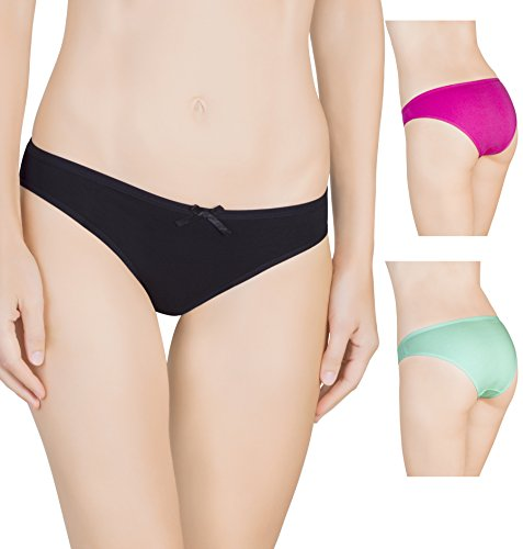 Nabtos Women Sexy Cotton Bikini Plain Underwear Panties (Pack of 3) (Medium/6, Black)