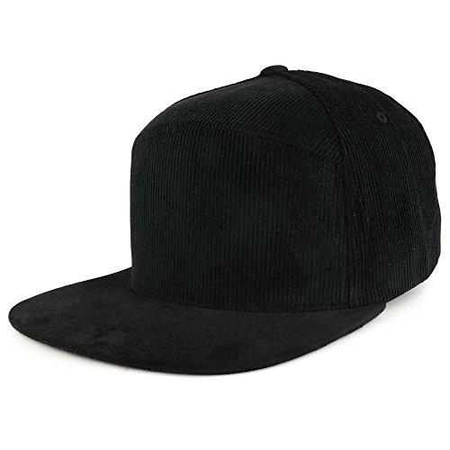 Trendy Apparel Shop Plain Corduroy Textured Suede Flat Bill Snapback Cap - Black (Hat Black Suede)