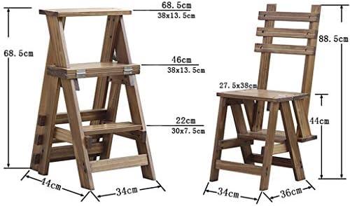 Heces escalonadas | Escalera de estantería plegable | Estante de almacenamiento | Silla de la manera de madera sólida plegable multifunción Escalera / Silla escalera con 3 Pasos para el hogar: Amazon.es: Hogar