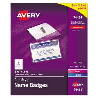 Averyamp;reg; Clip-Style Badge Holders, Top Load, 2 1/4 x 3 1/2, White 100 Sets per Box