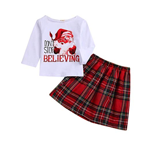 Toddler Baby Girls Chirstmas Clothes Kid Baby Girls Funny Letter T-Shirt Top Red Plaids Princess Skirt Tutus (Red Plaids Princess Skirt, 3-4 T)]()