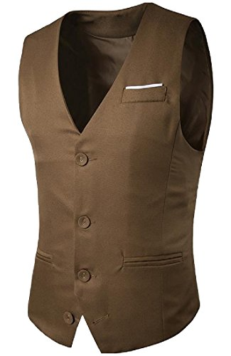 VITryst-Men Single Breasted Western Classic Fit Stretchy Down Vest Khaki XS ()