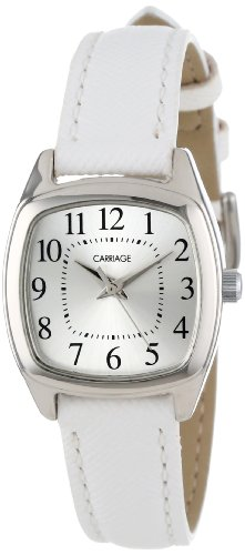 Carriage Women's C3C670 Silver-Tone Cushion-Shaped Case White Strap - Womens Timex Carriage