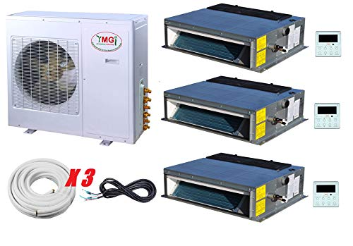 YMGI Three Zone - 36000 BTU 3 Ton 3 Zone 12000+12000+1200 Low Profile Fan Coil Concealed Ductless Mini Split Air Conditioner Heat Pump with 25 Ft Lineset Installation Kits