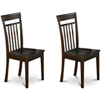 East West Furniture CAC-CAP-W Slat Back Kitchen/Dining Chair Set with Wood Seat, Set of 2