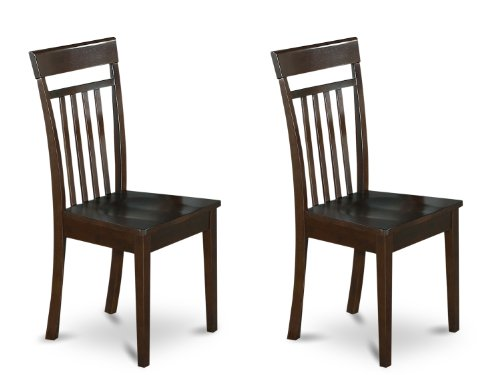 East West Furniture CAC-Cap-W Slat Back Kitchen/Dining Chair Set with Wood Seat, Set of 2 For Sale