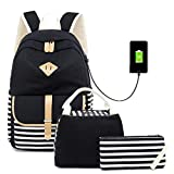 Canvas Backpack Girls Stripe School Bookbag Women College Backpack Travel Casual Daypacks for Teen Girls (Black-3)