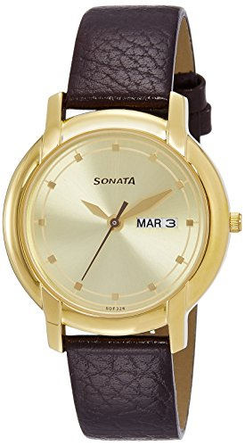 Sonata Professional Series Champagne dial watch for Men-7954YL10J ()