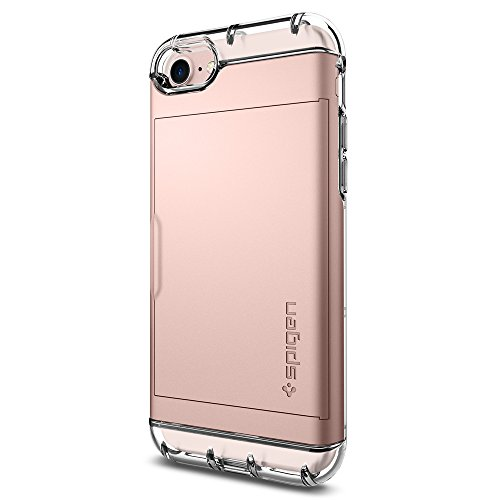 Spigen Crystal Wallet iPhone 7 / iPhone 8 Case with Slim Dual Layer Wallet Design and Card Slot Holder for Apple iPhone 7 (2016) / iPhone 8 (2017) - Rose Gold - Crystal Slider Case